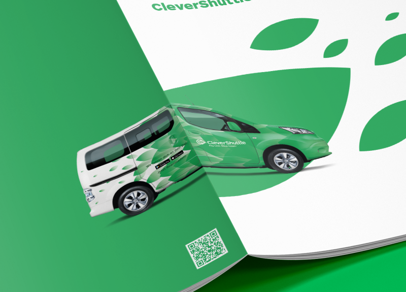 Front cover of the corporate brochure of CleverShuttle.