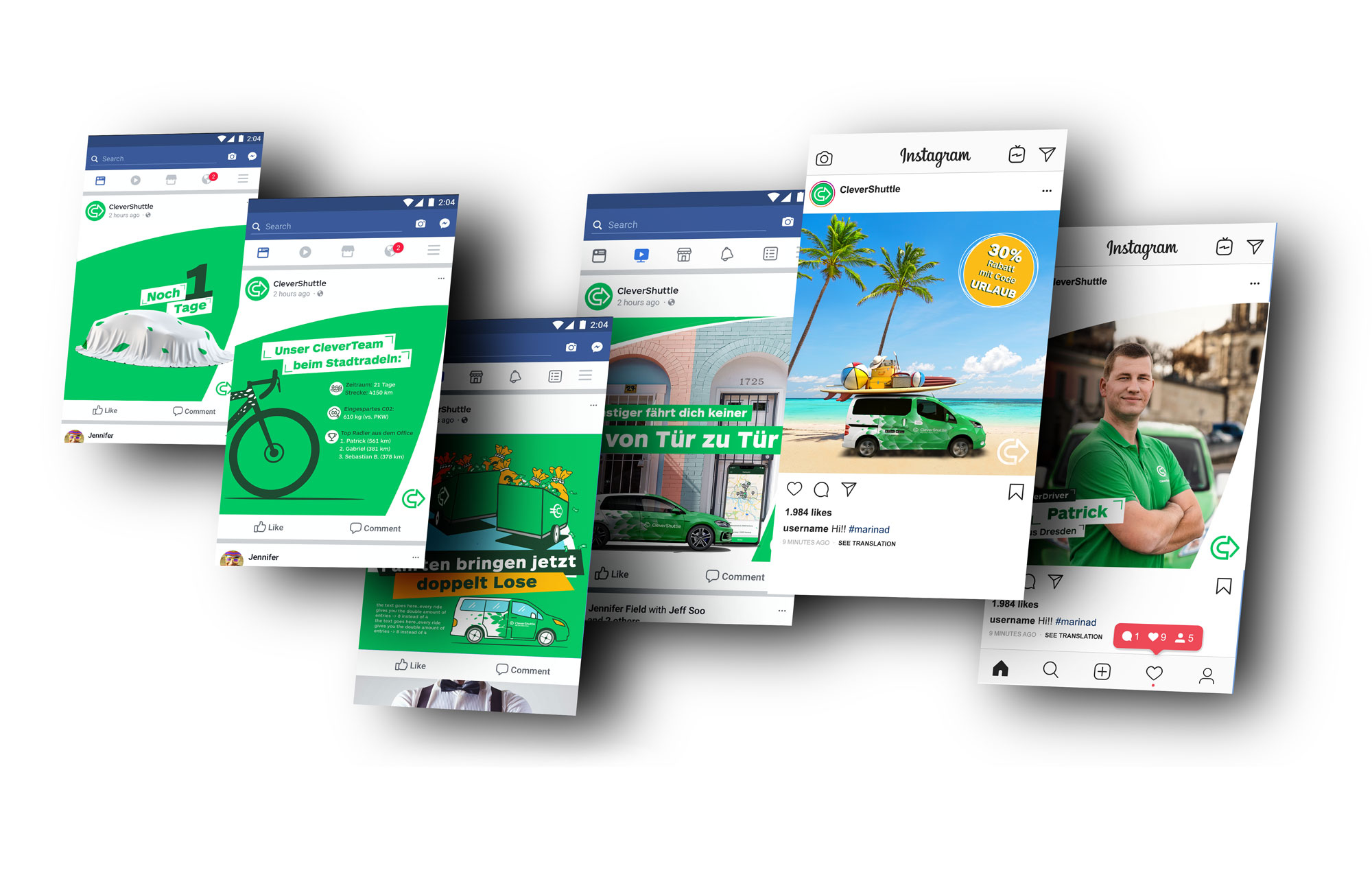 Different ideas for social media adverts.