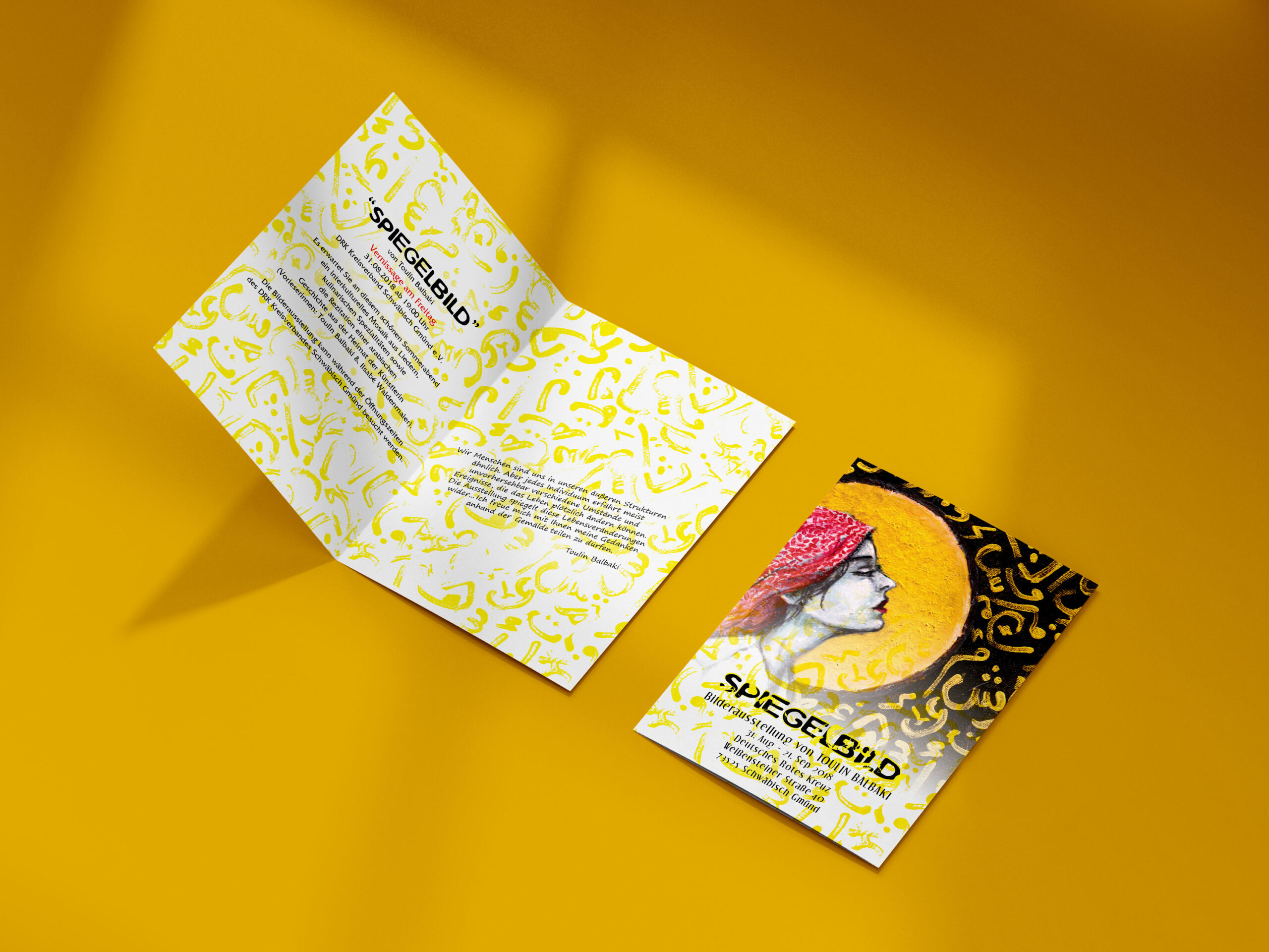 """Invitation card design for """"Spiegelbild"""" exhibition."""