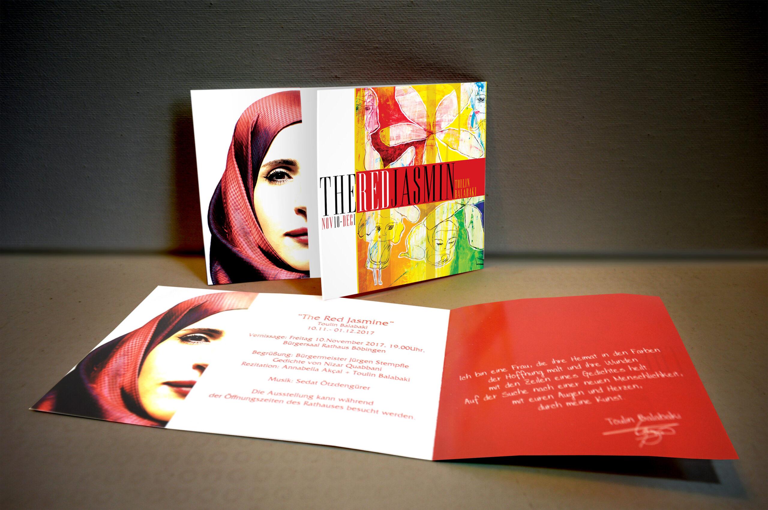 "Invitation card design for ""Red Jasmin"" exhibition."