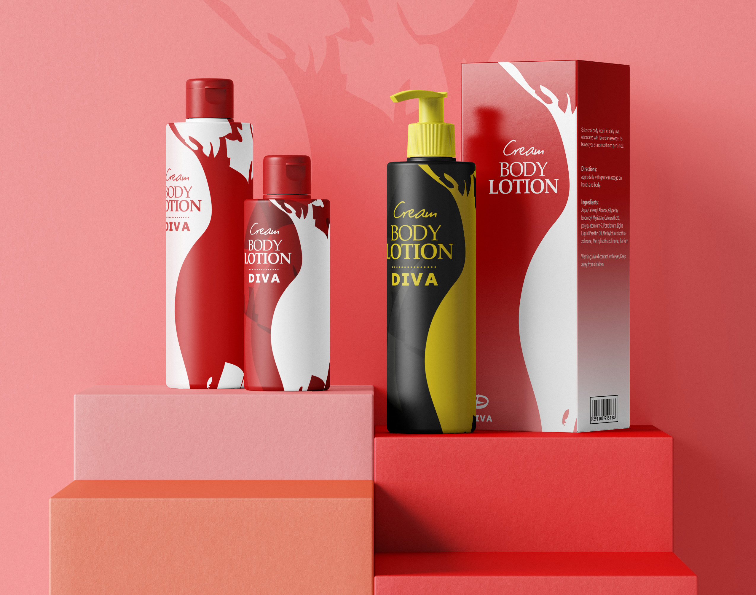 Packaging design for a body lotion product.