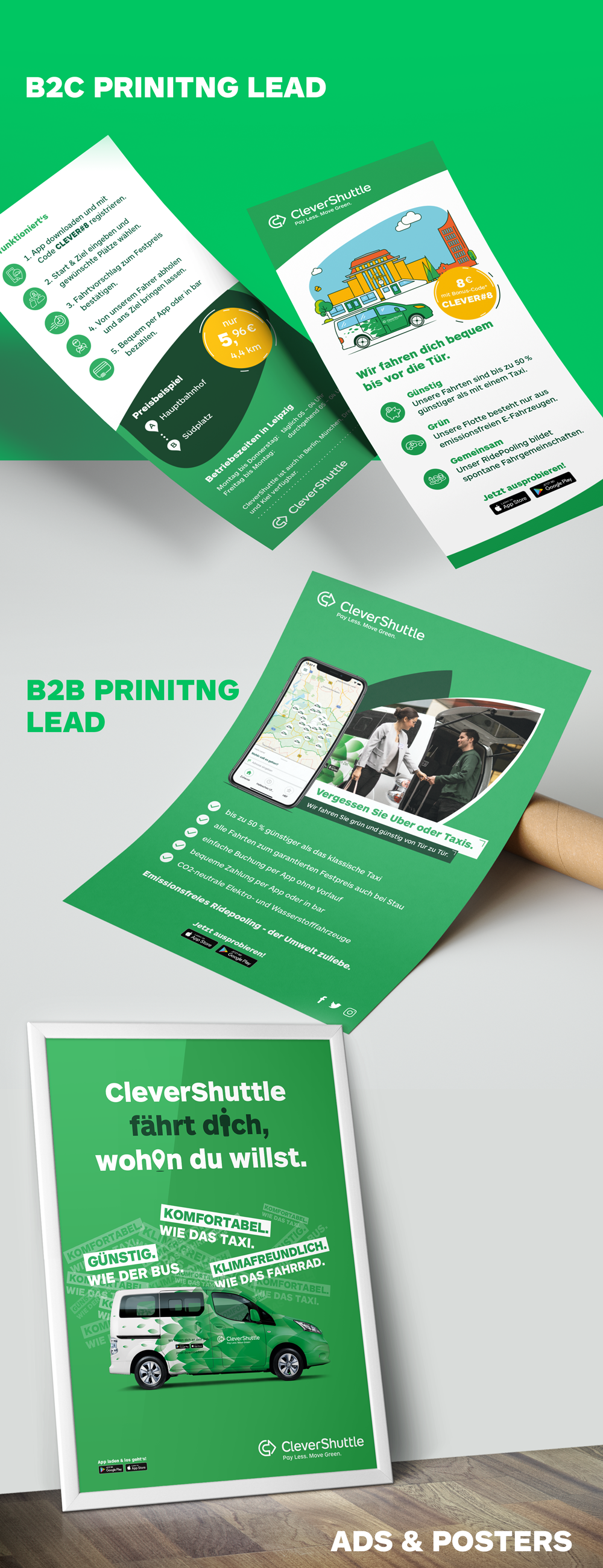 Flyers and poster design for CleverShuttle.