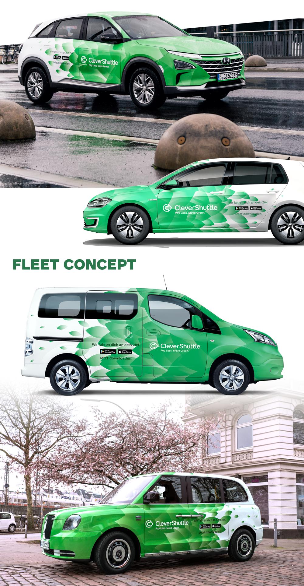 CleverShuttle fleet design and concept.