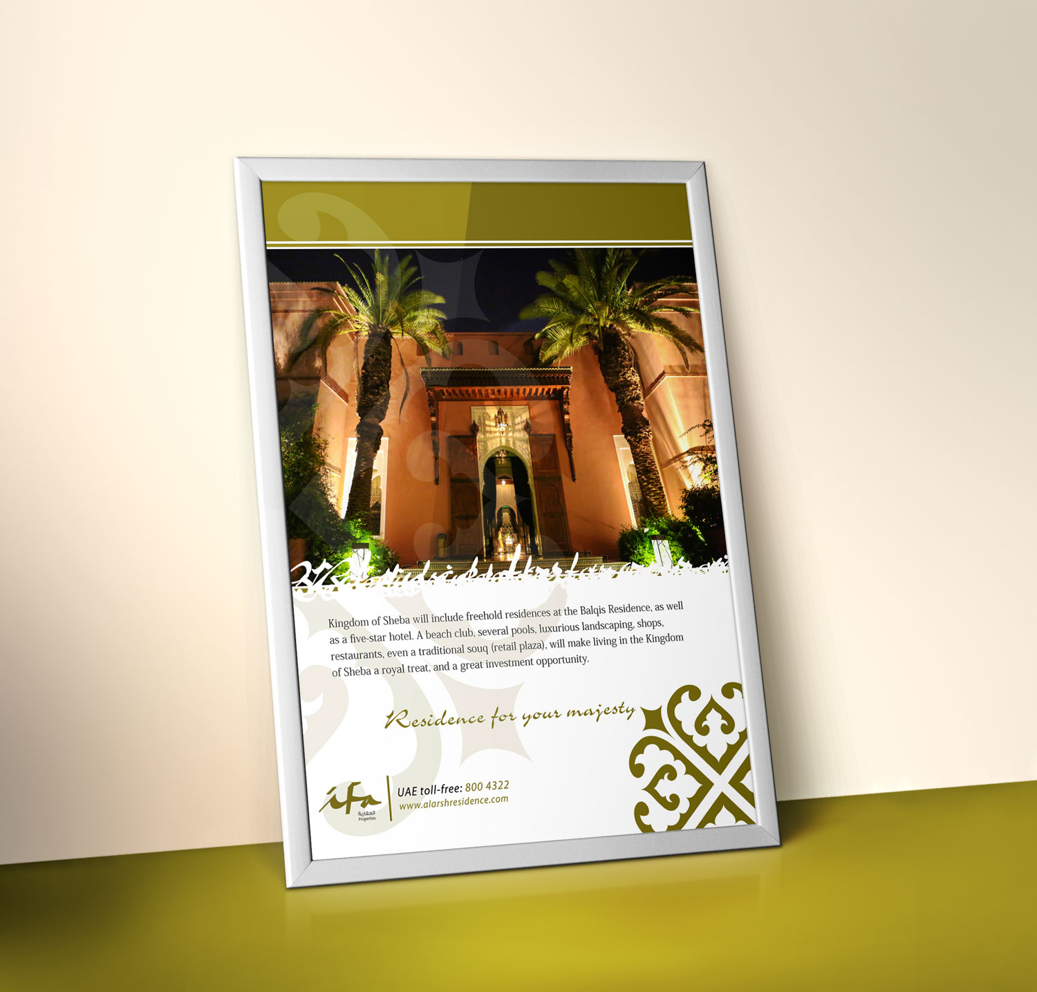 Poster mockup for IFA Villa with palm trees in front of it