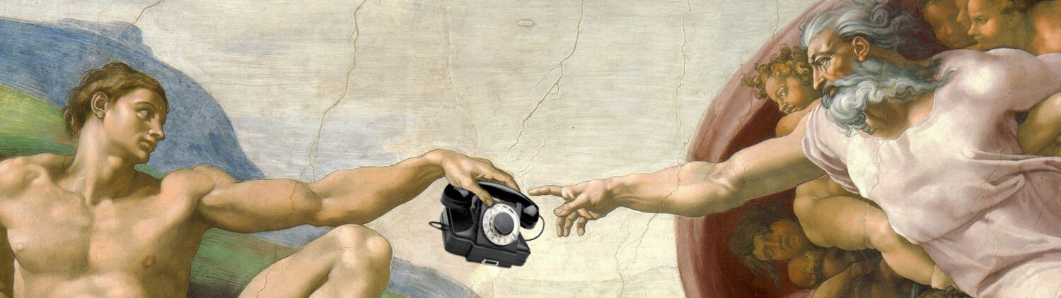 Adam giving the phone to the master. The Creation of Adam